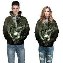 Creatvie Army Green Skull Head Smog 3D Print Hoodie Men/Women Hip Hop Streetwear Pullover Cap Sweatshirts Boy Autumn Jacket Coat