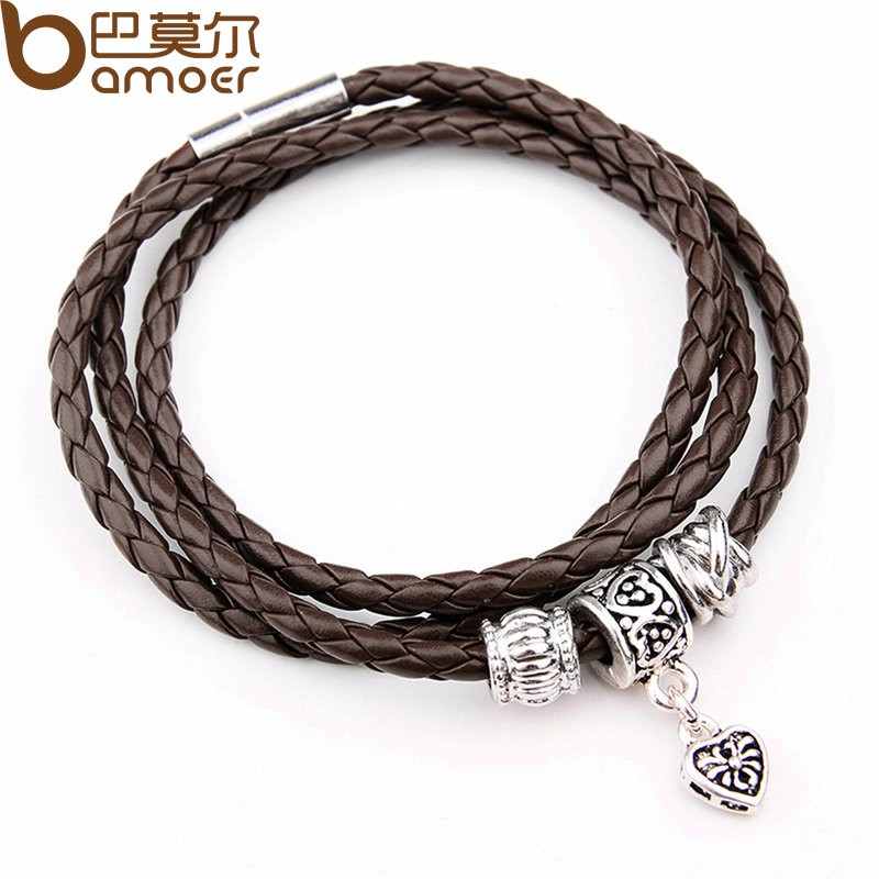 Newest Arrival Silver Charm Black Leather Bracelet for Women Five Colors Magnet Clasp Christmas Gift Jewelry PI0311