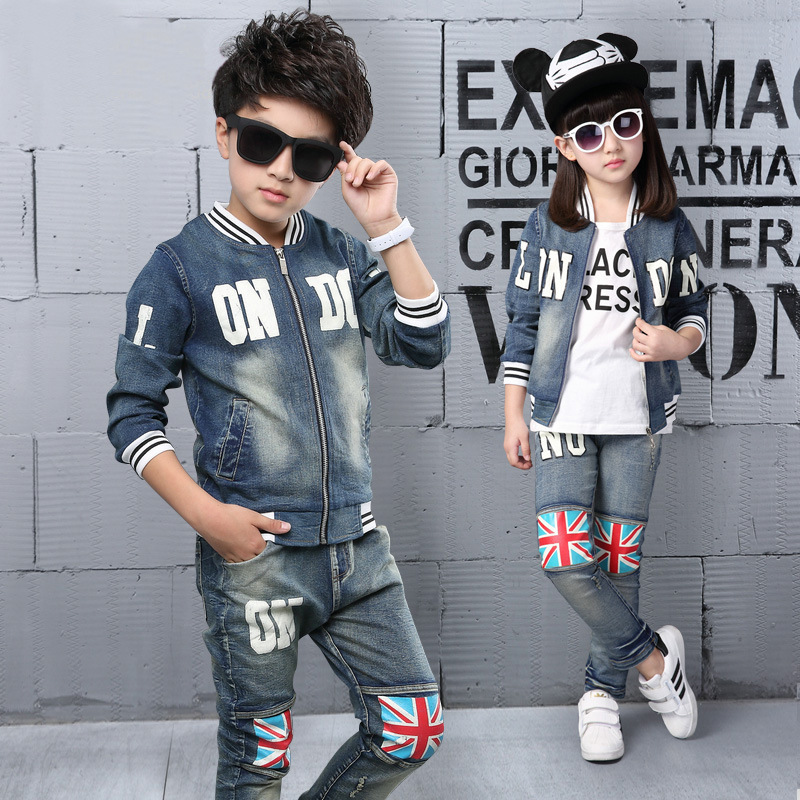 ФОТО 2015 Autumn Winter Kids Clothes Cowboy Suit 2 pcs Girls Outfits Jeans Jacket Clothing Children Set 3-13 Years old Boy Clothes
