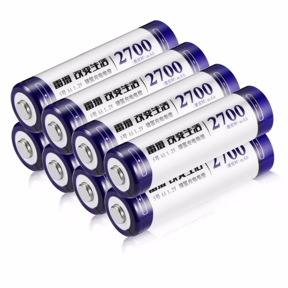 LEISE 8pcs High Capacity AA Ni MH Rechargeable Batteries 2700mAh batteria For Remote Control Toys/ Camera/ Microphone