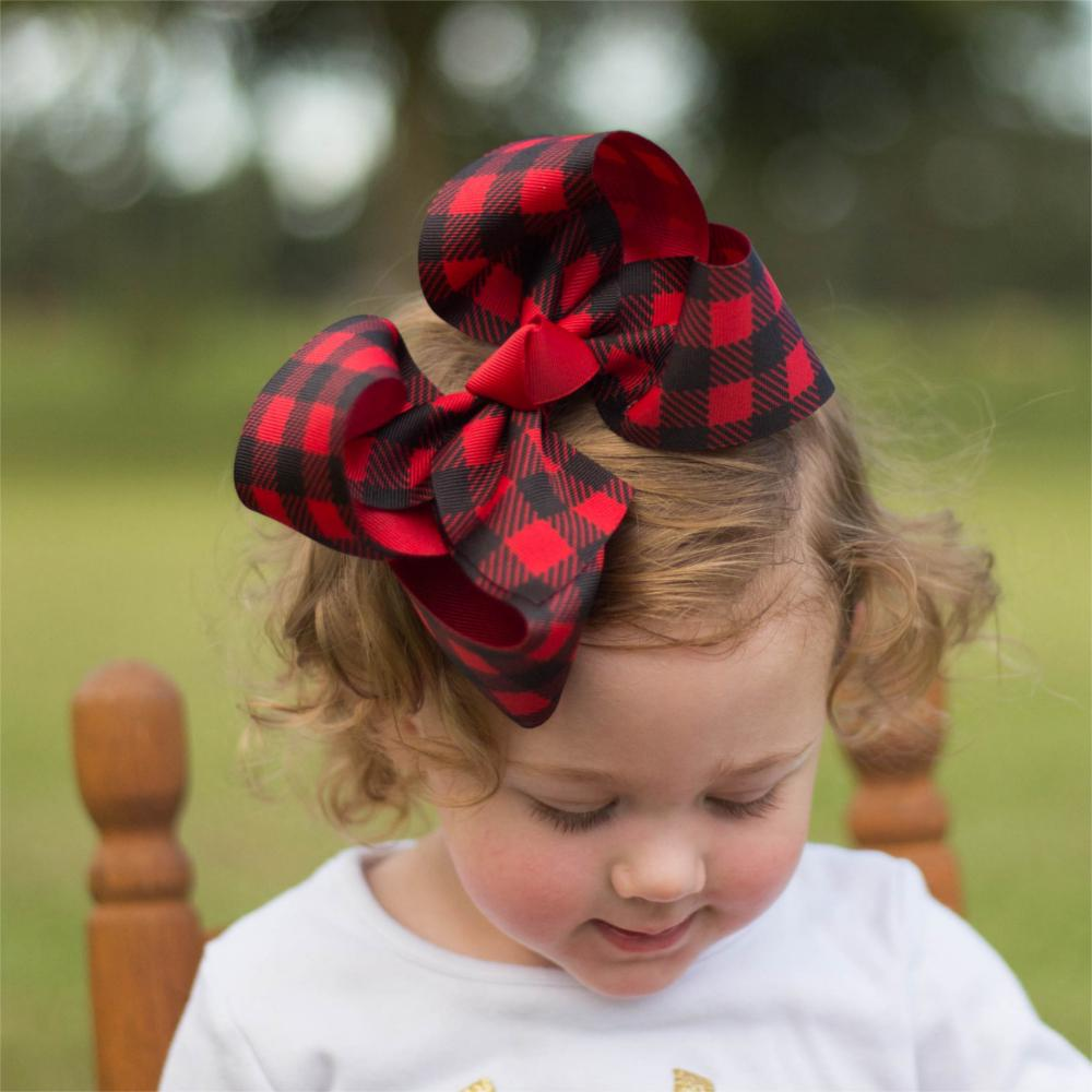 free shipping 5pcs Buffalo Plaid bows christmas Hair Bows With Clips plaid Kids Girls Princess Handmade Boutique  bows plaid