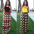 2016 Women's Vesitos Femininos Sexy Striped Print Casual Boho Bohemian Summer Beach Long Maxi Dresses