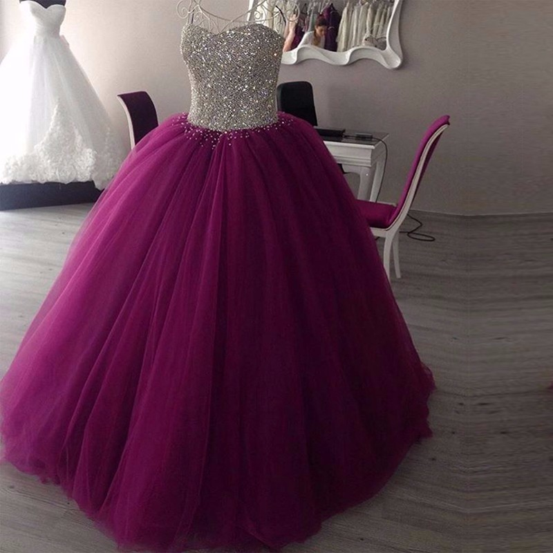 Sparkly Sweetheart Beaded Ball Gown   Prom     Dresses   2019 Real Picture Purple Tulle Floor Length Sleeveless Puffy Long   Prom     Dress