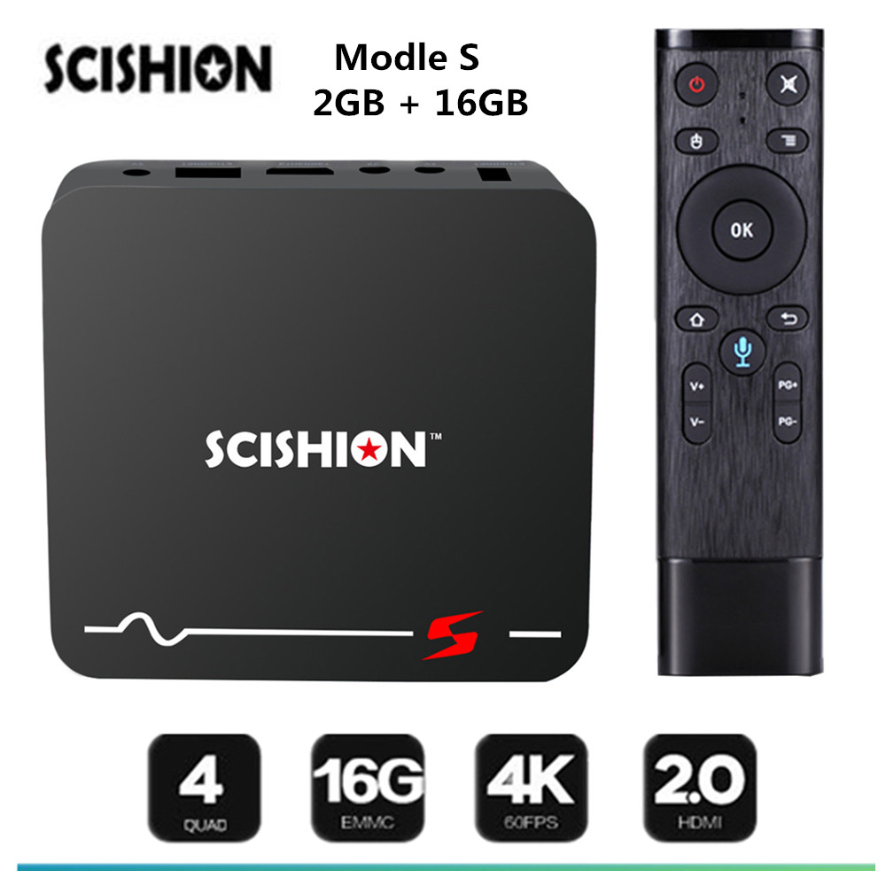 SCISHION модель S ТВ Box Android 8,1 голос дистанционного RK3229 2 ГБ 16 ГБ Smart ТВ коробка 2.4g WiFi 100 Мбит/с Поддержка 4 К H.265 Media Player