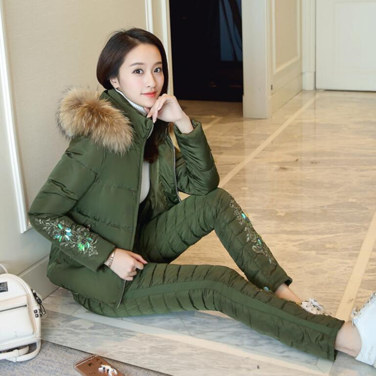2017 New Winter women Jacket Suit fashion Warm fue collar hooded Parka Coat + Pants 2 Piece Set s1232 women s tiered collar business suit skirt set 8 orchid