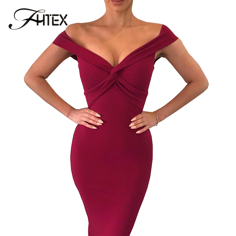 FHTEX Sexy V Neck Off The Shoulder Cross Slim Bodycon