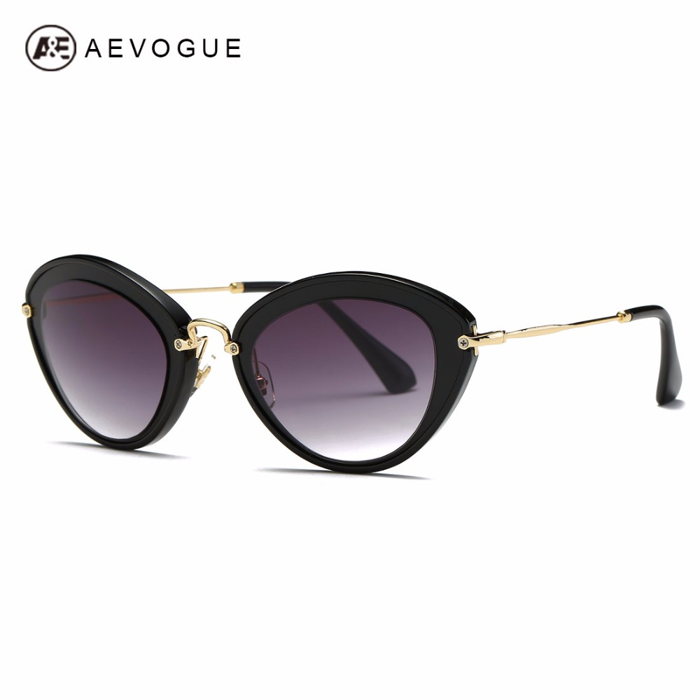 AEVOGUE Sunglasses Women Cat Eye Frame Brand Designer Vintage Steampunk Metal beam Sun Glasses Copper Temple With Box AE0485