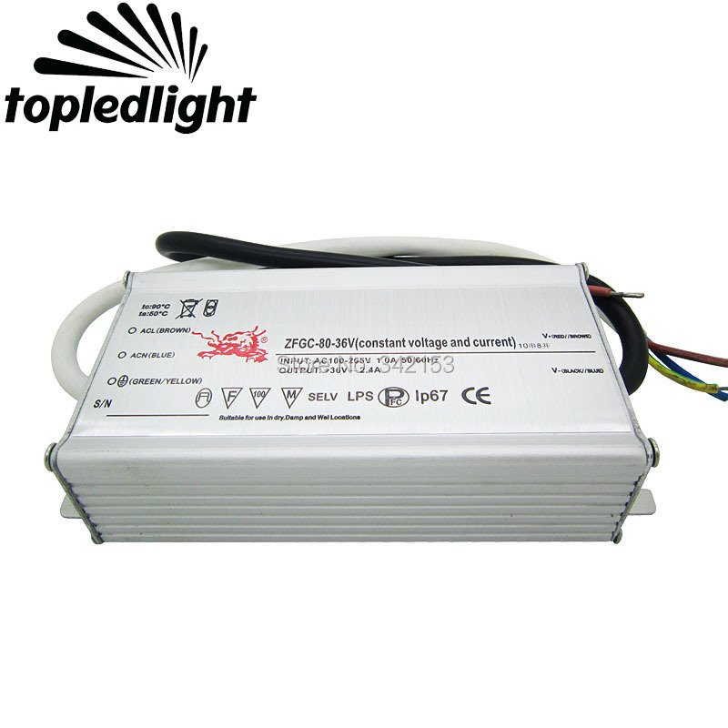 IP67 Waterproof Lighting Transformers 10 Series 8 Parallel Connection 26-36V 2.4A 80W High Power Constant Current Led Driver ip67 waterproof 200w high power led driver 36v 5 5a constant current portable lighting transformers input 100 240vac 2 3a