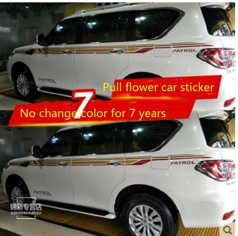 Pour Nissan Nouvelle Route autocollants De Voiture Traction fleurs Rouge Y62 Corps Couleur Bande Autocollants taille ligne Couleur Autocollants Modifiés Décoration