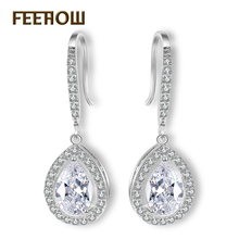 4 Color Choice Women Fashion Earrings White Gold Plated Dangle Cut Pear Shape CZ Diamond & Zircon Drop