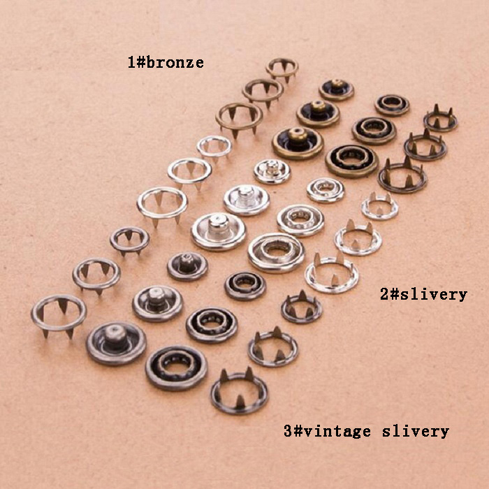 4in one prong Snap <font><b>Buttons</b></font> 7.5/8/9/<font><b>10mm</b></font> claw Fasteners Press Stud metal copper for handmade Gift Box Scrapbook Craft DIY Sewing image