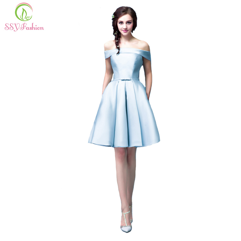 SSYFashion Luxury Satin Boat Neck Off-the-shoulder A-line Blue Short   Evening     Dresses   Bridal Party Elegant Plus Size Prom   Dress