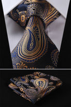 TF4001B8 Gold Blue Floral 3 4 100 Silk Wedding Jacquard Woven Men Tie Necktie Pocket Square