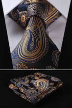 TF4001B8 Gold Blue Floral 3.4″ 100%Silk Wedding Jacquard Woven Men Tie Necktie Pocket Square Handkerchief Set Suit