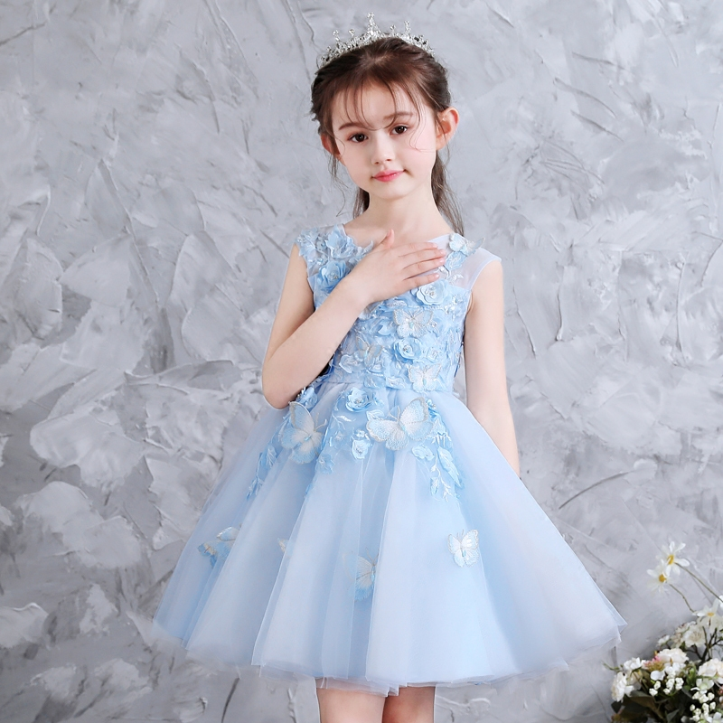 Babies S Elegant Fashion Sky Blue Color Birthday Wedding Party Flowers Princess Dress Children Kids Sweet Tutu Pageant