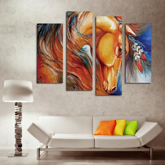 Peinture à l'huile, peinture sans cadre, quatre pièces d'animal, l'oeil du cheval, peinture informatique - 3