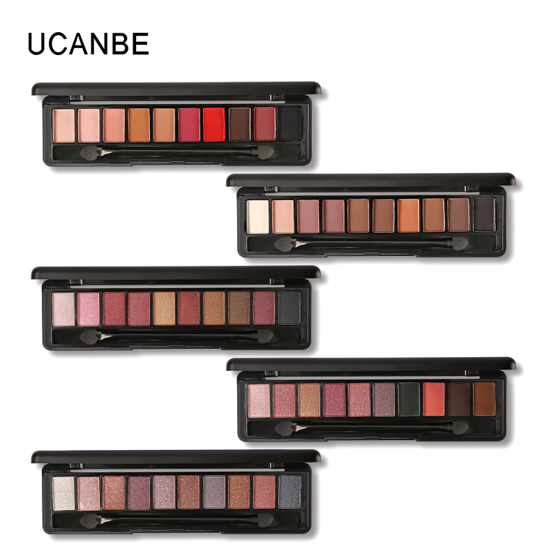 UCANBE Brand 3pcs Value Eye Makeup Set 10 Colors Nude Eyeshadow Palette With Brush Black Liquid Eyeliner Mascara Cosmetics Kit 1