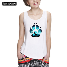 SexeMara Women Summer New Fashion Dog Cat Paw and a wolf Print Tops Harajuku Tank Top Punk Kawaii Femal top
