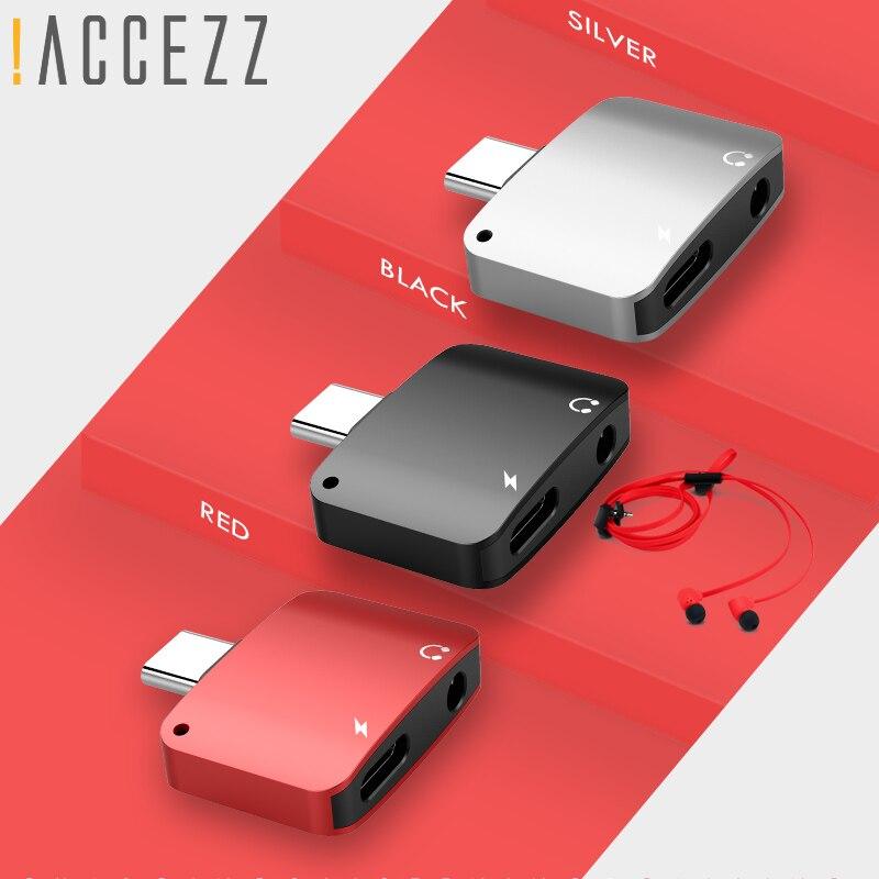!ACCEZZ Type C USB 3.5mm Adapter Headphone Jack AUX Audio Charging Splitter For Samsung S8 S9 Xiaomi 5S 6X Type-C Smart Adapters