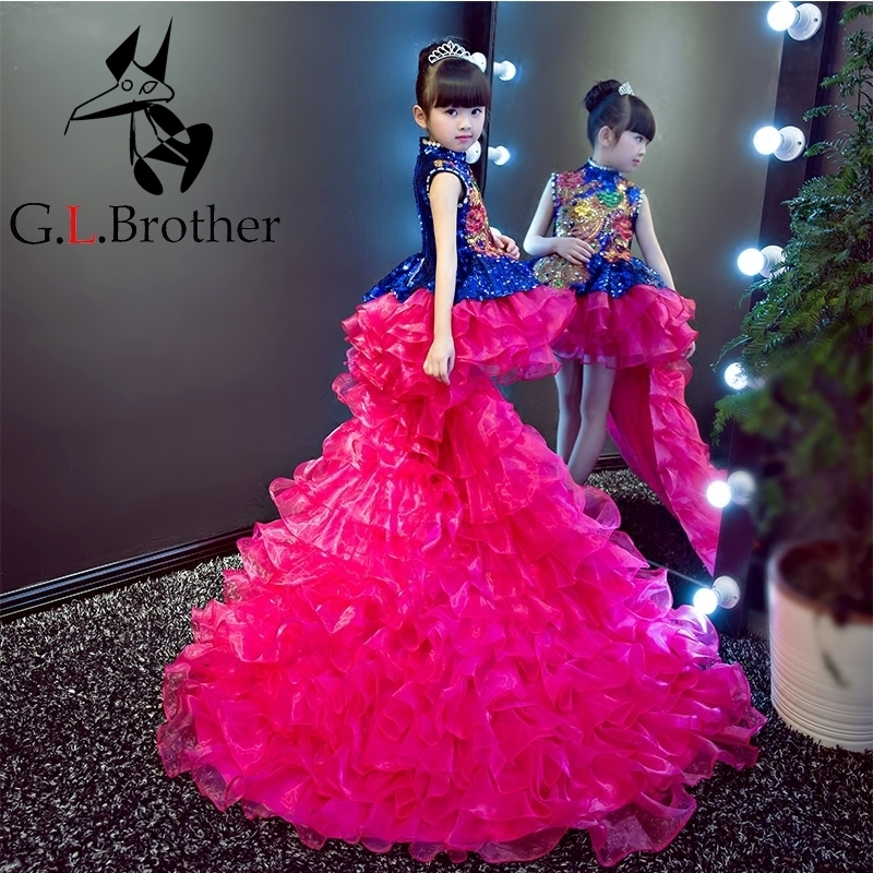 Luxury Princess Dress Crystal Flower Girl Dresses Long Tailing Kids Pageant Dress Wedding Ball Gown Girls Formal Dress Party B64 2018 royal princess shoulderless flower ball gown dress long tailing sweet luxury backless kids pageant for birtyday party dress