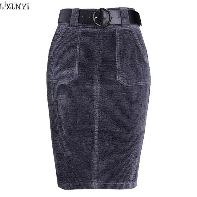 64d69d7d3b6 LXUNYI Corduroy Women High Waist Pencil Skirt Autumn Korean Formal Slim  Bodycon Skirt Midi Casual Woman Skirts Elegant Winter