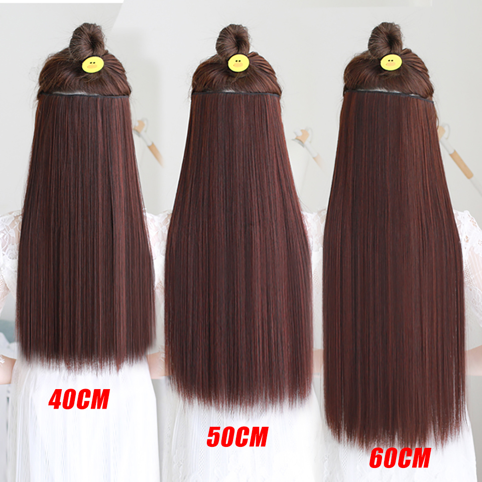 AOSIWIG 5 Clip Long Straight Naturliga Hårförlängningar High - Syntetiskt hår - Foto 4