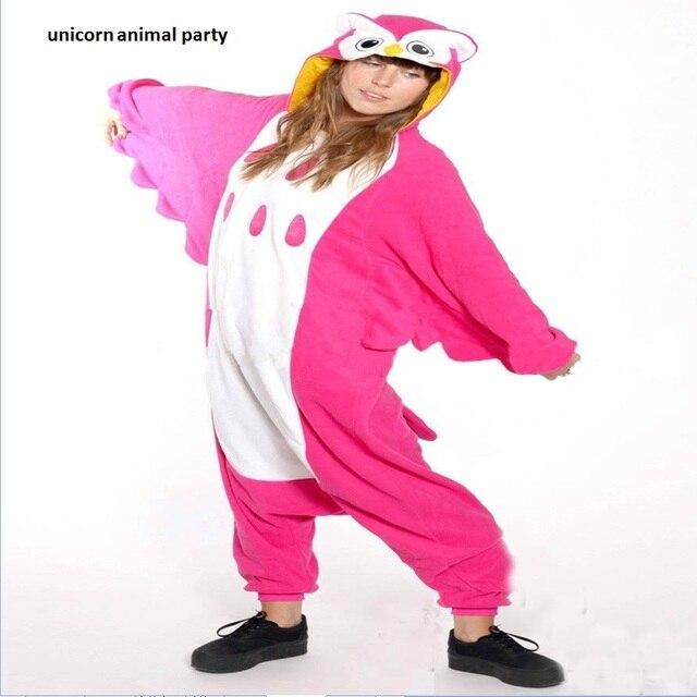 31121153 Kigurumi Rosa rojo búho ropa Cosplay pijamas mono trajes de Carnaval adulto  Unisex pijamas de dibujos