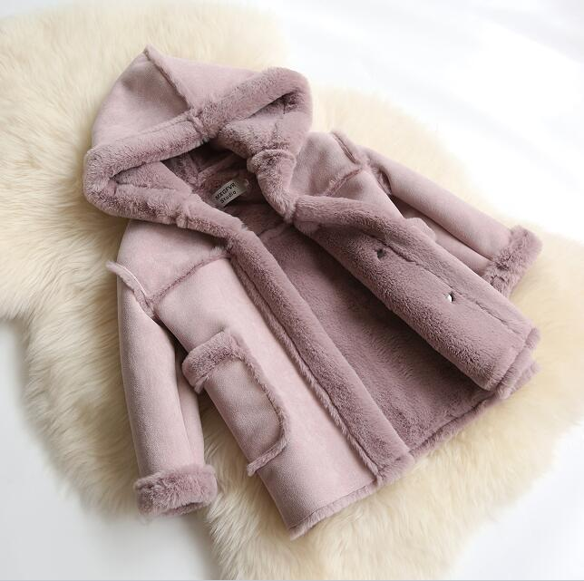 Free Shipping Thick Winter Hooded Jacket Warm Imitation Fur Coat High Quality Long Sleeve Hooded Coat Large Size Girl's Overcoat