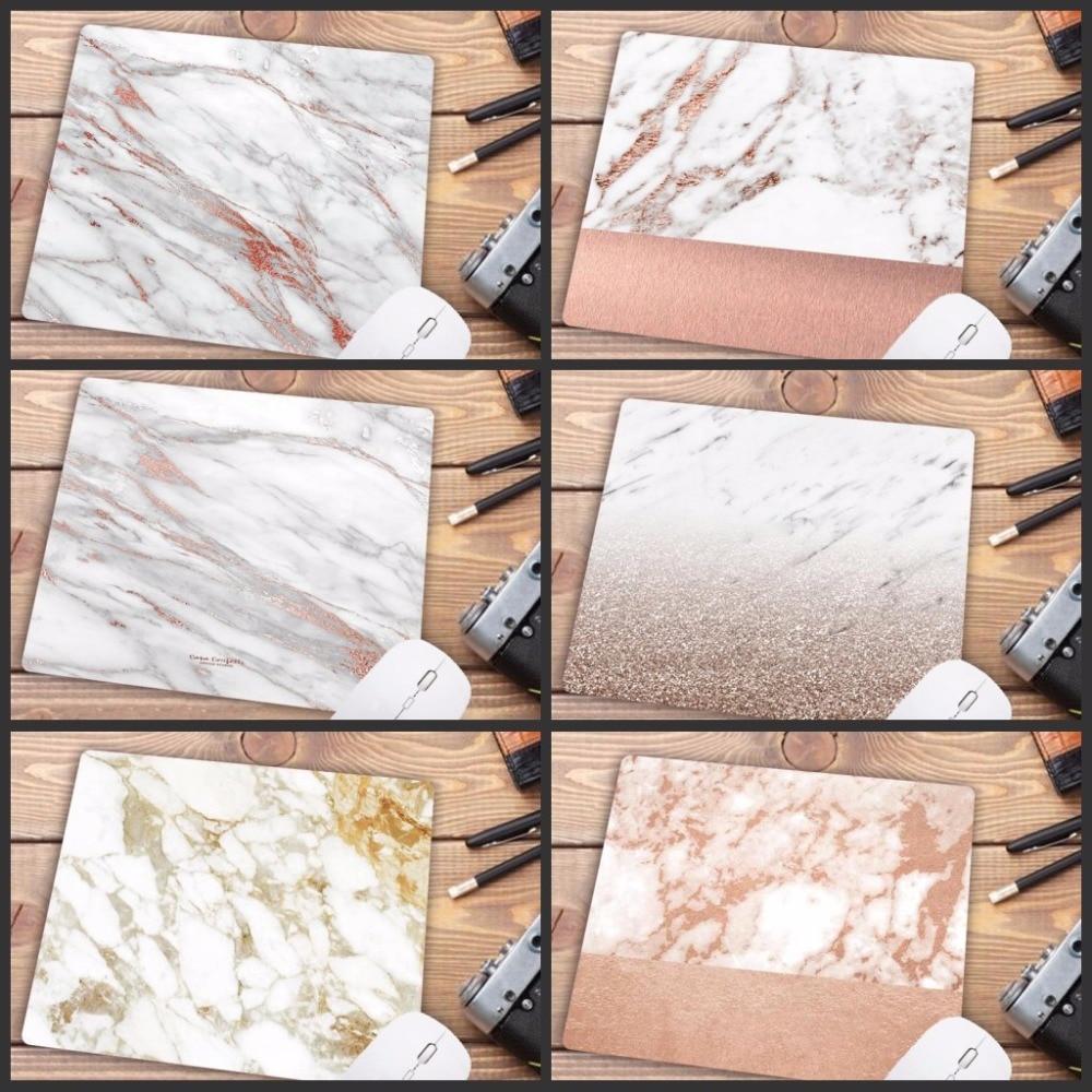 Mairuige Promotion Russia Modern Faux Gold Glitter Marble Unique Desktop Pad Mousepads Computer Small Size 18X22CM Mouse Mat
