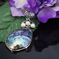 44x60mm Natural  seashells sea shells 3layer freshwater pearl stripe DIY pendant jewelry making design crafts Accessories Series