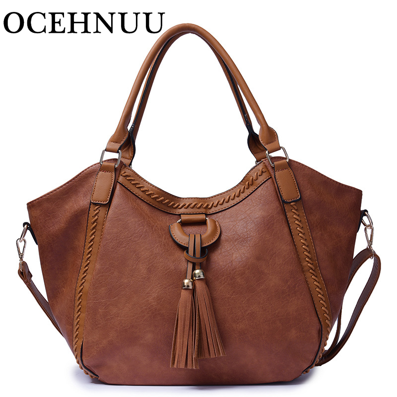 OCEHNUU Designer Women PU Leather Handbags High Quality Luxury Big Tote Bags For Women 2018 Shoulder Bag Female Tassel Solid