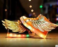 2017 Детская обувь USB зарядки светящиеся для мальчиков и девочек Детская обувь светодиодной подсветкой Светящиеся Крылья обувь кроссовки