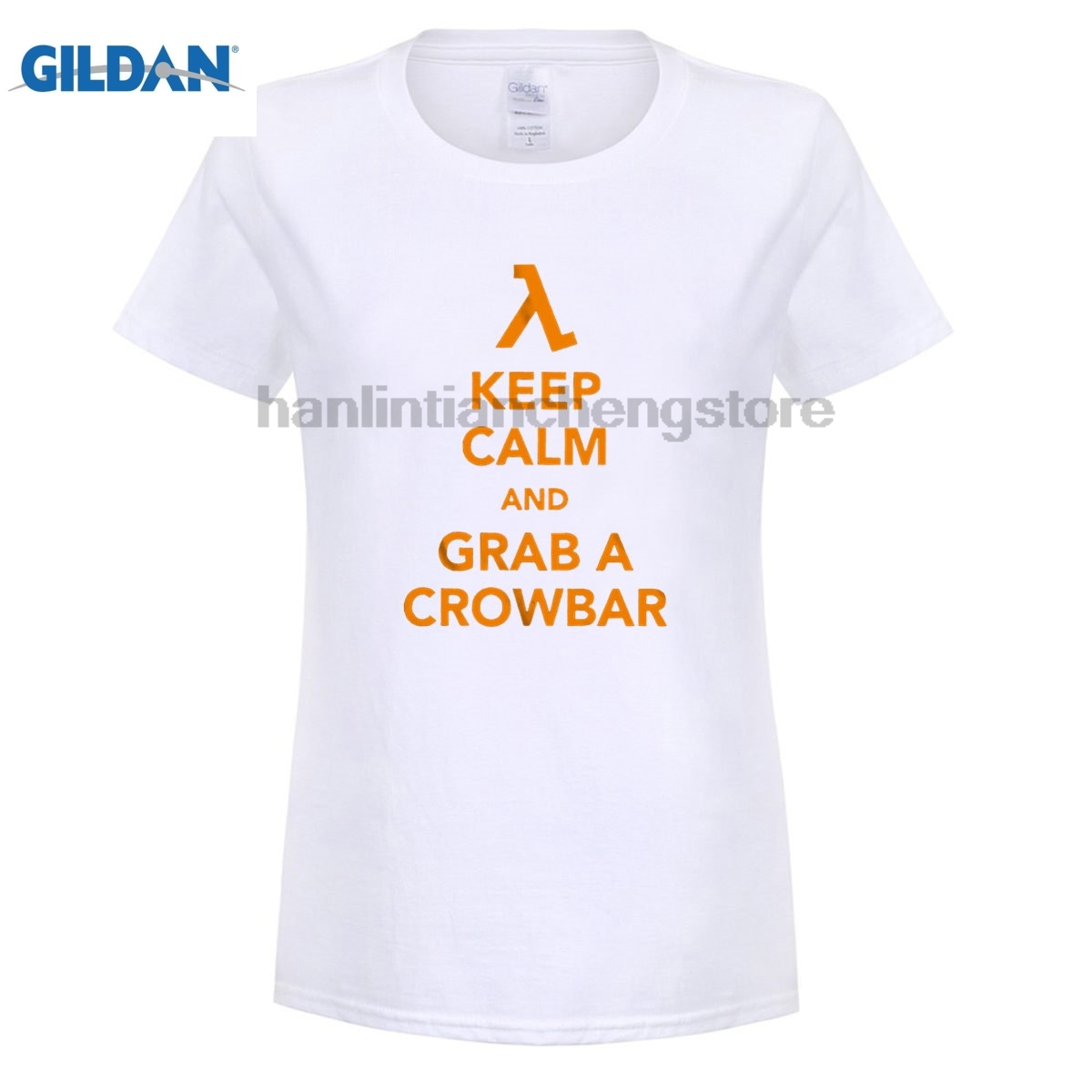 GILDAN FPS Classic Game HALF LIFE women T shirt Keep Calm Grab A Crowbar Boy Letters Printed Short Sleeve Tees O-neck