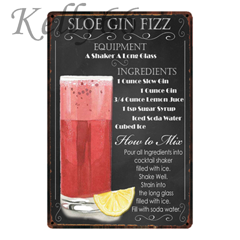 [ Kelly66 ] Sloe Gin Fizz Cocktail Metal Sign Tin Poster Home Decor Bar Wall Art Painting 20*30 CM Size y-1821 image