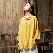 2019 Bat Sleeve  Autumn Women New Spinning Original Style Retro Bamboo Cotton Linen Blouse Vintage
