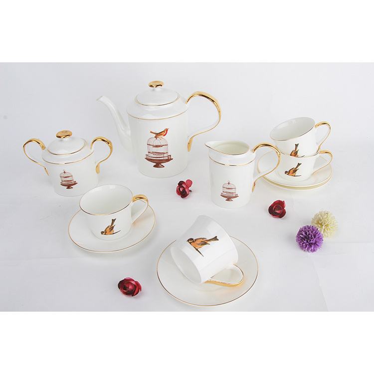 Bone China Coffee Service Suit Ceramics Teapot Cage Hand Phnom Penh Cup And Saucer Afternoon Tea ShopBone China Coffee Service Suit Ceramics Teapot Cage Hand Phnom Penh Cup And Saucer Afternoon Tea Shop