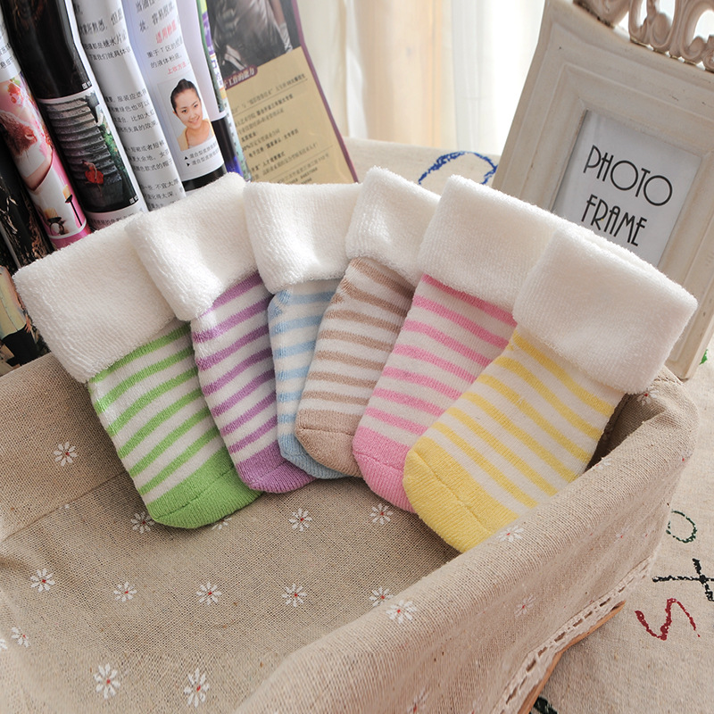 Детские Носки 0-18 месяцев Детские толстые теплые вещи детские мягкие Носки махровые с отворотом для маленьких мальчиков и носки для девочек ...
