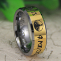 "Cheap Price Free Shipping USA Canada Hot Selling 8MM The BioShock-""A man chooses,a slave obeys"" Men's Gold Tungsten Wedding Ring"