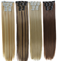 Длинные прямые синтетические волосы DIFEI 16 видов цветов  16 клипс  зажимы для наращивания  высокотемпературное волокно  черные и светлые волос...