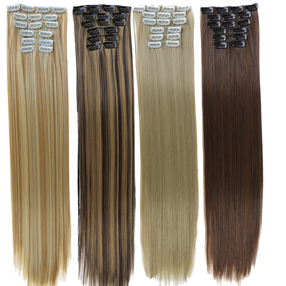 DIFEI 16 Colors 16 Clips Long Straight Synthetic Hair Extensions Clips In High Temperature Fiber Black Blonde Hairpiece