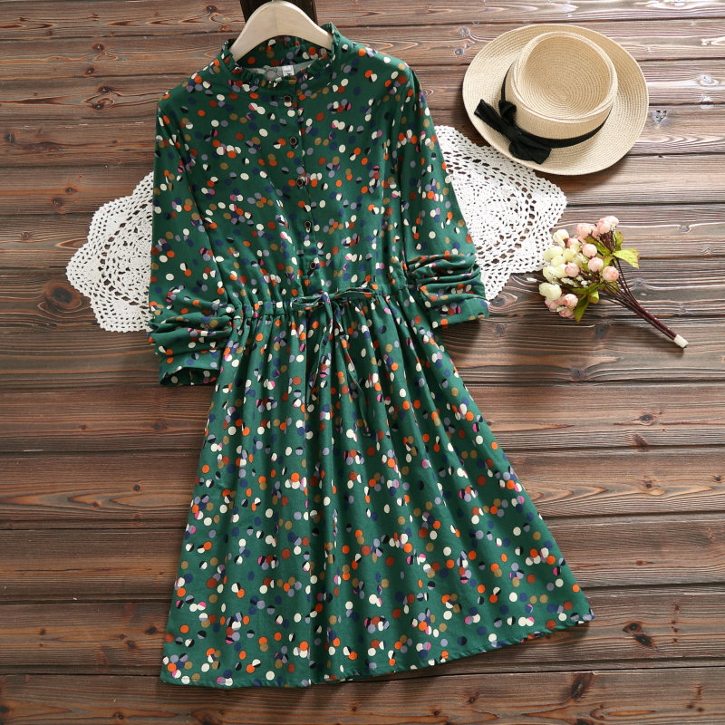 2018 new arrival autumn ladies dress style long sleeve dot print for women