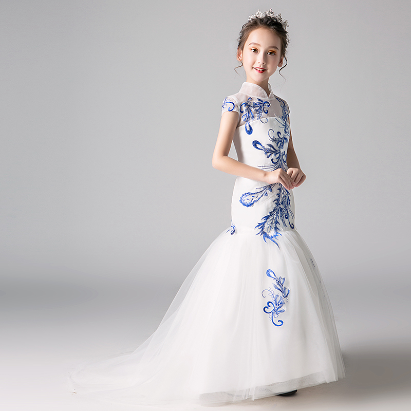 Embroidery Mermaid Flower Girl Dresses Wedding New Fashion Chinese Style Princess Birthday Dress Stand Collar Kids Formal Dress 2017 new lolita chiffon dress goldfish embroidery printed floral kawaii cute chinese style bow princess dresses cosplay costumes