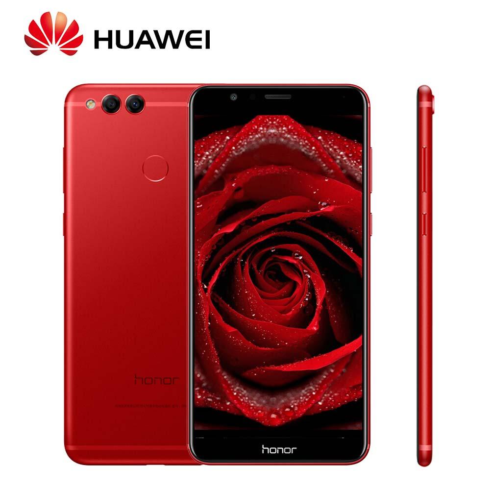 Mondial ROM Huawei Honor 7X mobile Téléphone 8MP + 16MP Double Arrière Caméras 3340 mah 5.93 pouce 2160*1080 p Vue Plein Écran D'empreintes Digitales