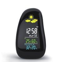 นาฬิกาปลุกดิจิตอลสถานีอากาศรายงานความชื้นอุณหภูมิเครื่องวัดอุณหภูมิLedสภาพอากาศStazione Meteoไร้ส...