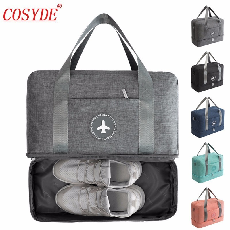 Men Women Double Layer Travel Bag Dry and Wet Separation Package Beach Bag Large Capacity Waterproof Duffle Bag Luggage Handbags tegaote men s travel duffle bag large capacity portable handbags nylon waterproof luggage bolsas female beach bag