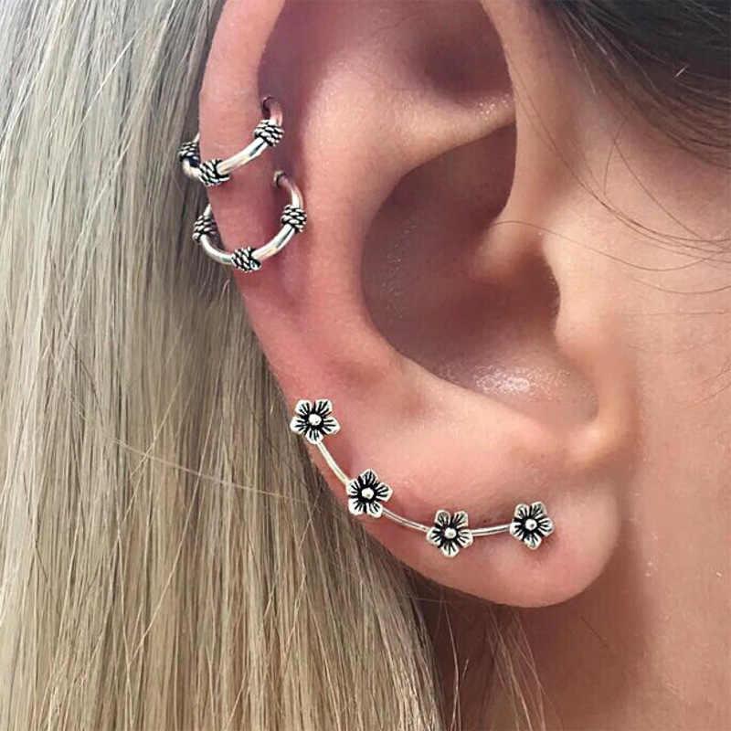 3 יחידות\סט רטרו עגילי סט תכשיטי קליפ אוזן עגיל זוגי מעגל פריחת שזיף נשים צבע כסף עתיק אבזר
