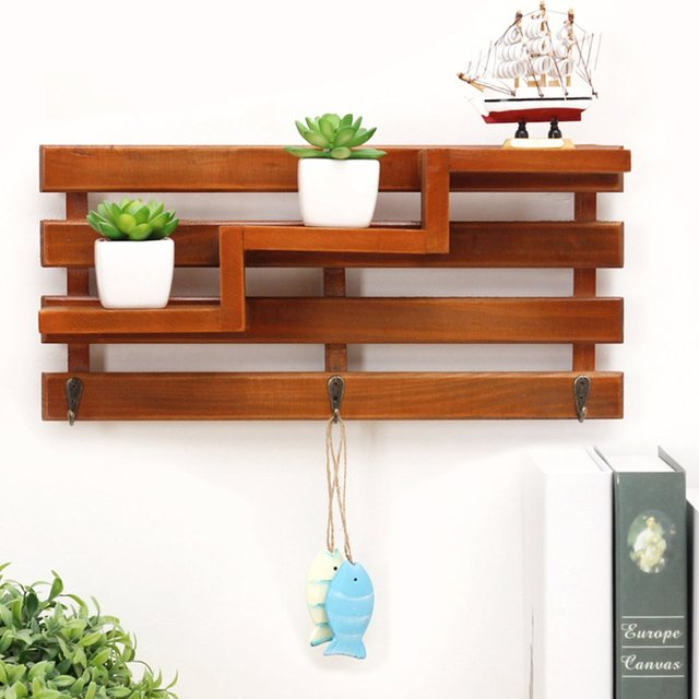 Wooden Corner Wall Shelf Wood Bathroom Shelves Storage Box Handmade Cargo Organizer Staircase Small Key