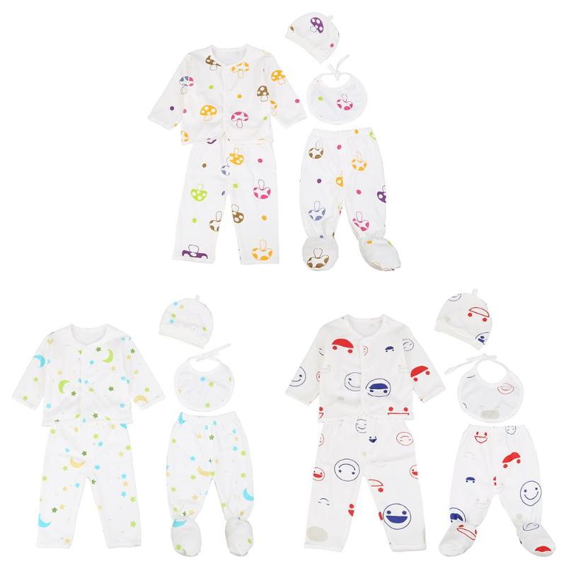 5pcs Baby Underwear Set Cotton Cartoon Tops Pants Hat Saliva Towel Jumpsuit Clothing Sets