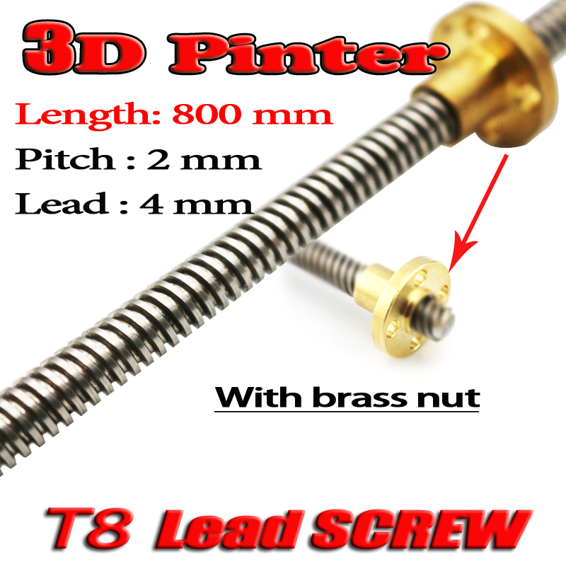 3D Printer THSL-800-8D Lead Screw Dia 8MM Pitch 2mm Lead 4mm Length 800mm with Copper Nut Free Shipping 3d printer thsl 600 8d lead screw dia 8mm pitch 2mm lead 2mm length 600mm with copper nut free shipping