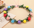 Adult kids Artificial Flower Garland  Bride Princess Crown Birthday Wedding Decoration wreath hoop 14 colorways  available